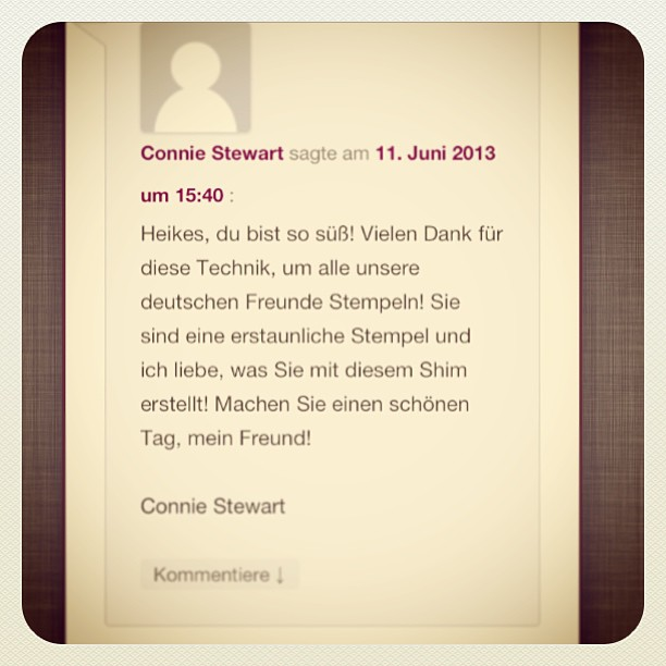 Thanks a lot Connie, for your lovely comment in german.